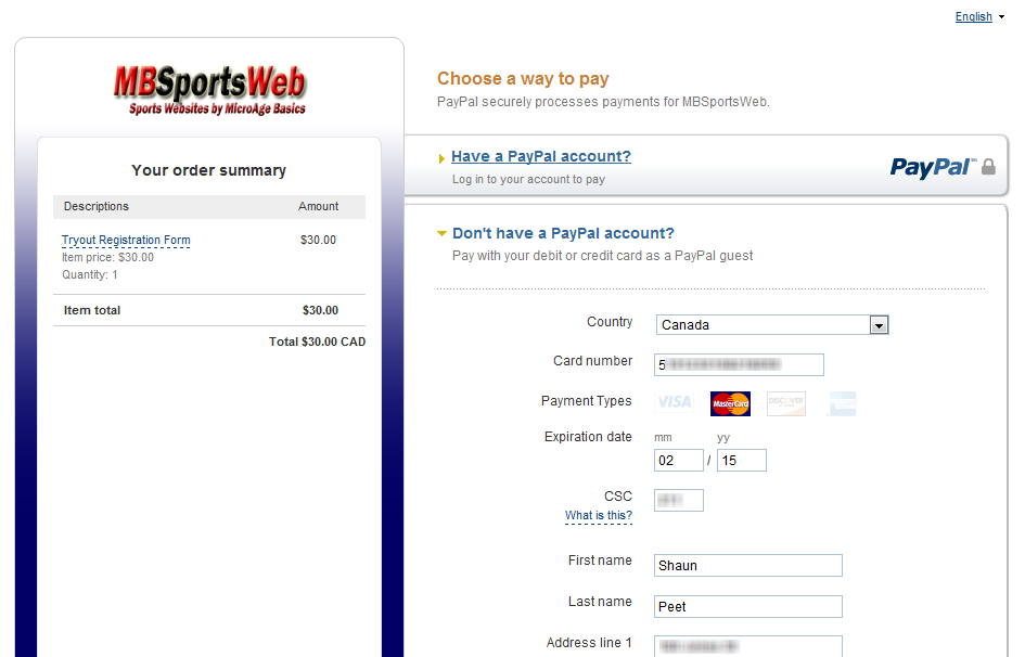 how to integrate paypal with an online form mbsportsweb